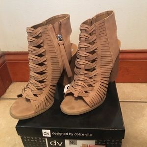 Taupe Dolce Vita open toe booties